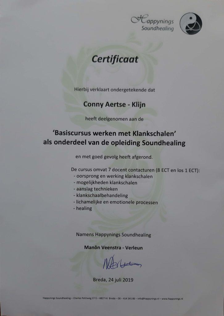 certificaat klankschalen